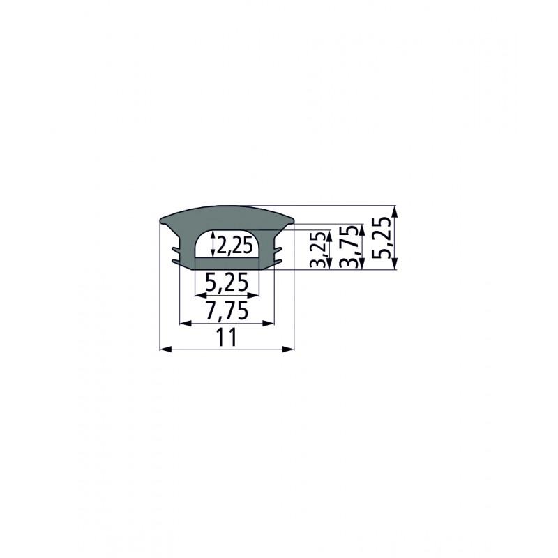 ПВХ-профиль для т-образных пазов PG 1 (серые прорезиненные)