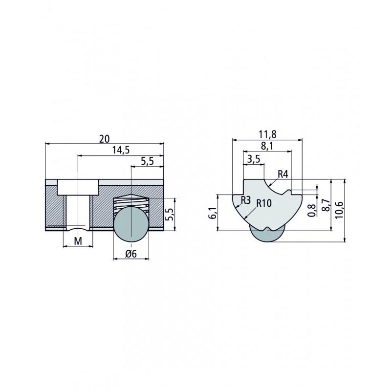 Т-Образный паз камень 6 (М6/М8)