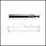 Radiusffräser mit 3,175 mm Schaft 2 Schneiden